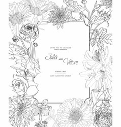 frame with spring and summer line flowers vector image