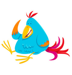 funny colorful bird cartoon animal character vector image