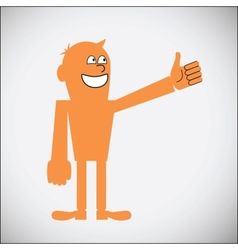 Gesturing thumbs up vector