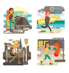 Gritty strong woman character collection vector