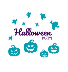 Halloween print with silhouettes pumpkins vector