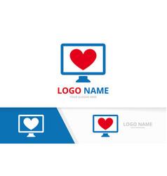 heart and computer logo combination unique vector image