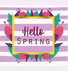 hello spring phrase banner flowers decoration vector image