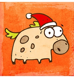 Horse with Santa Hat Cartoon vector