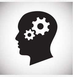 Human head with gears icon on white background for vector