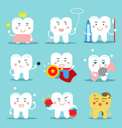 human teeth characters in flat vector image