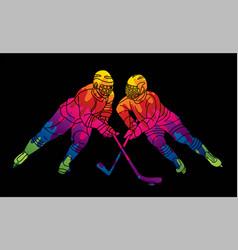 Ice hockey players action cartoon sport graphic vector