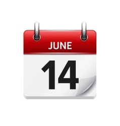 June 14 flat daily calendar icon date vector