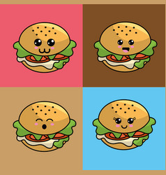 kawaii set burger icon with beautiful expressions vector image