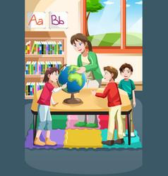 Kindergarten teacher and students vector