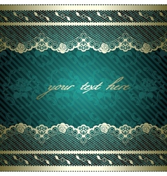 Lacy design on dark green vector image
