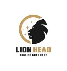 lion head circle logo design vector image