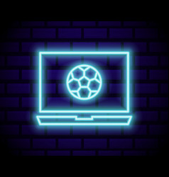 live soccer neon sign live football logo neon vector image