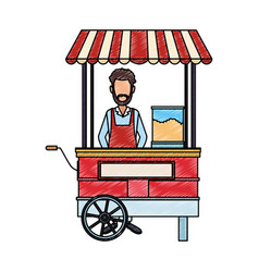 Man on popcorn booth scribble vector