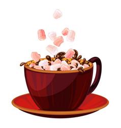 Marshmallow in hot chocolate icon cartoon style vector