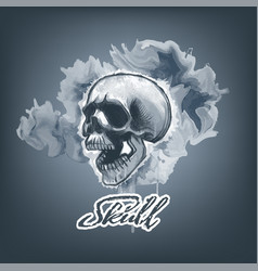 monochromic watercolor skull on smeared paint vector image