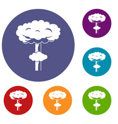 nuclear explosion icons set vector image