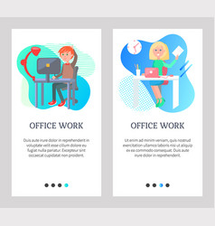 Office work man and woman working at workplace vector