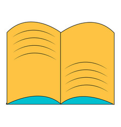 Old open magic book icon cartoon style vector