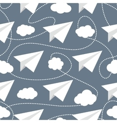 Paper planes in clouds seamless pattern vector