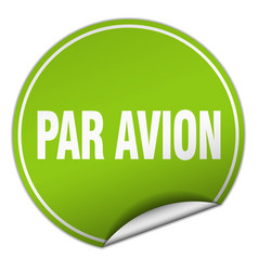 Par avion round green sticker isolated on white vector