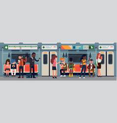 people in subway train car vector image