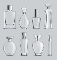 Perfume glass bottles realistic set vector