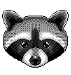 pixel raccoon portrait detailed isolated vector image