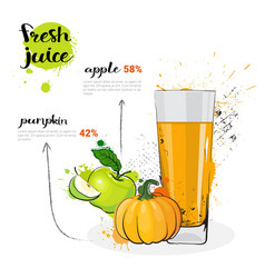 Pumpkin apple mix cocktail fresh juice hand vector