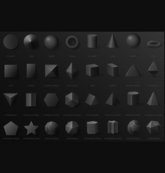 realistic black basic geometric 3d shapes in top vector image