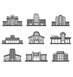 retail stores symbols supermarket icons shopping vector image