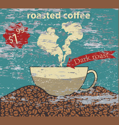 Roasted coffee with a cup vector