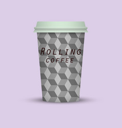 Rolling coffee to go paper coffee cup vector
