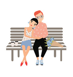 romantic couple sitting together on bench isolated vector image