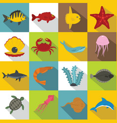 Sea animals icons set flat style vector