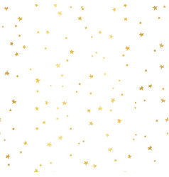 seamless pattern gold foil stars on white vector image