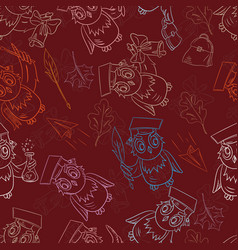 Seamless pattern outline sketch on school theme vector