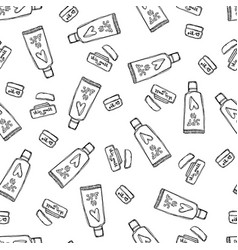 Seamless pattern with hand drawn beauty products vector