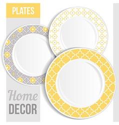 set 3 matching decorative plates vector image