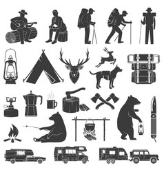 set camping icons isolated on white vector image
