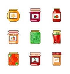 Set jars with honey jam and vegetables vector