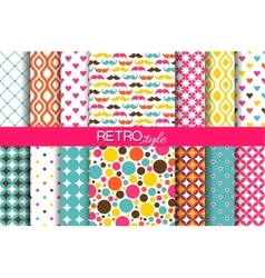 Set of colorful seamless retro patterns vector image