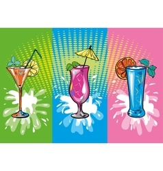 Set of colorful sketch cocktails and drinks vector