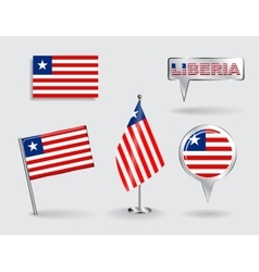 Set of liberian pin icon and map pointer flags vector