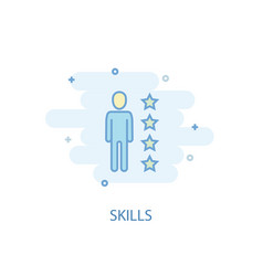 Skills line concept simple line icon colored vector