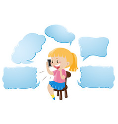 speech bubble template with girl talking on phone vector image