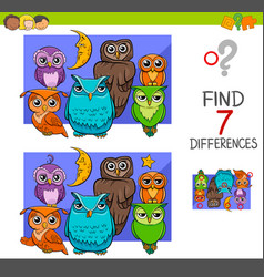 Spot the differences with cute owl birds vector