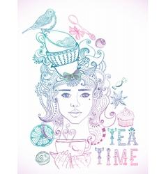 Tea time girl vector