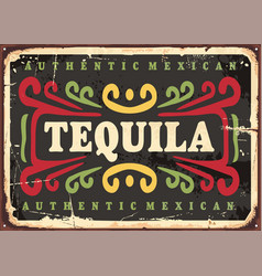 tequila vintage sign vector image