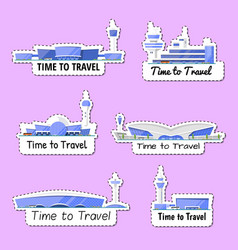 Time to travel isolated labels set vector